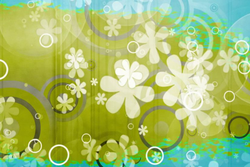Color rip retro flowers and shapes looping green and blue abstract animated CG  background