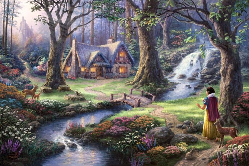 fantasy Art, Fairies, Thomas Kinkade, Painting, Trees, Flowers, Stream,  House, Waterfall, Bridge, Lights, Castle, Forest, Animals, Deer, Path,  Rabbits, ...