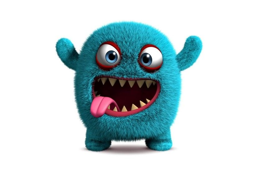 3d monster cute fluffy funny face