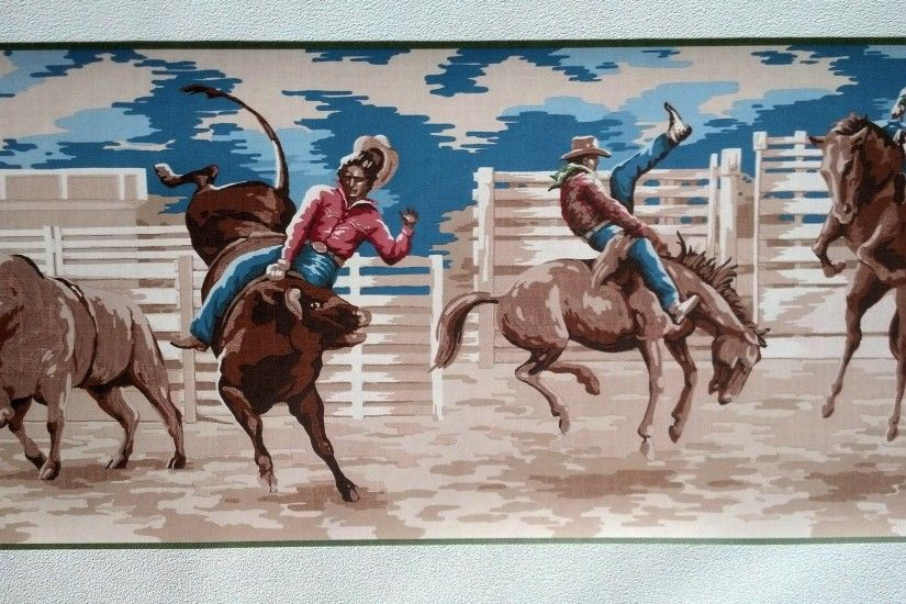 Cowboy Bronco Rodeo Wallpaper Border - Green Edge