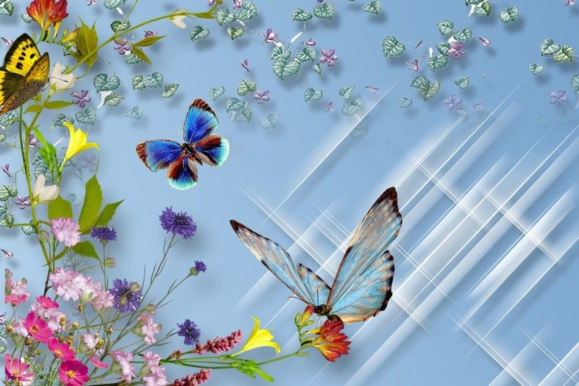 3d flower and butterfly wallpapers