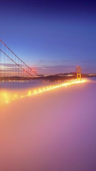 San Francisco Golden Gate Bridge Fog Lights Android Wallpaper