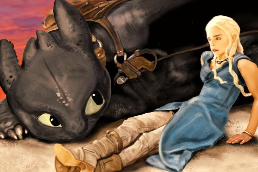 Daenerys Targaryen, Game Of Thrones, How To Train Your Dragon, Fan Art, Toothless  Wallpaper HD