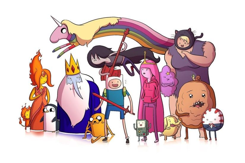 adventure time finn the human jake the dog princess bubblegum lady  rainicorn the ice king marceline