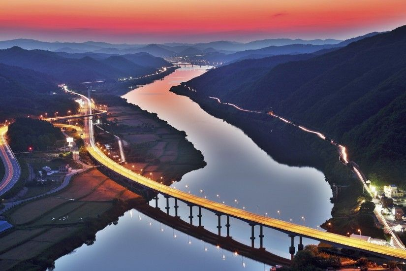 city, South Korea, River, Light Trails, Bridge, Hill, Sunset, Field  Wallpapers HD / Desktop and Mobile Backgrounds