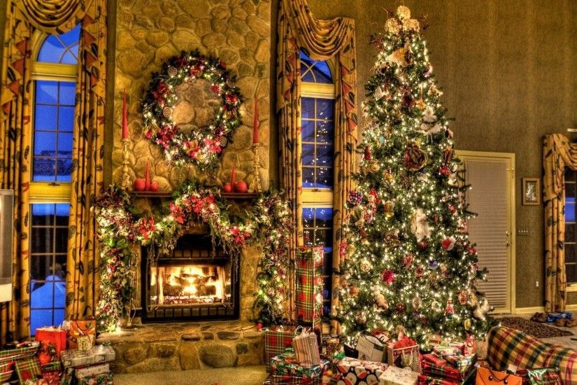 Christmas Tree And Fireplace Background (08)