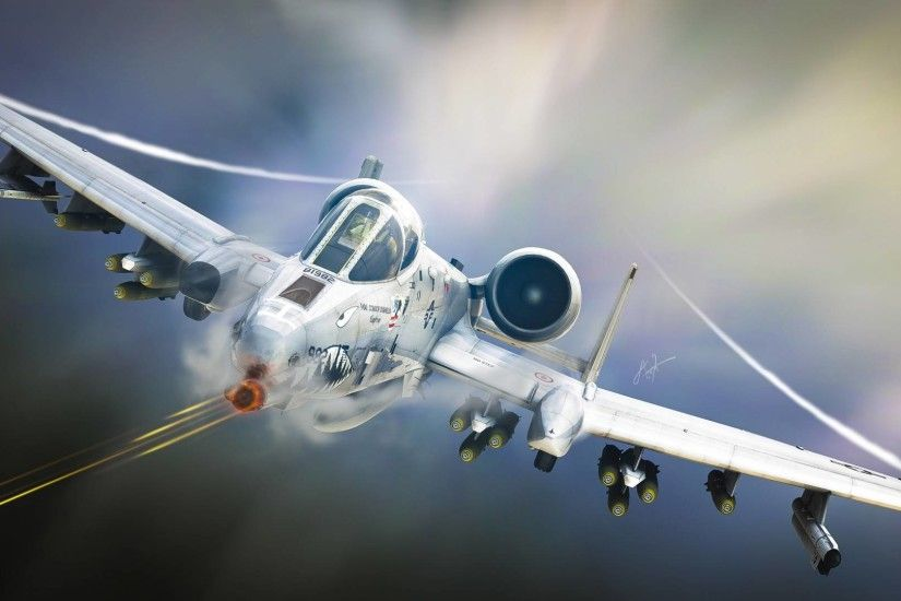 USAF A10 Tankbuster Attack Aircraft Airplane Aviation Art Military Wallpaper