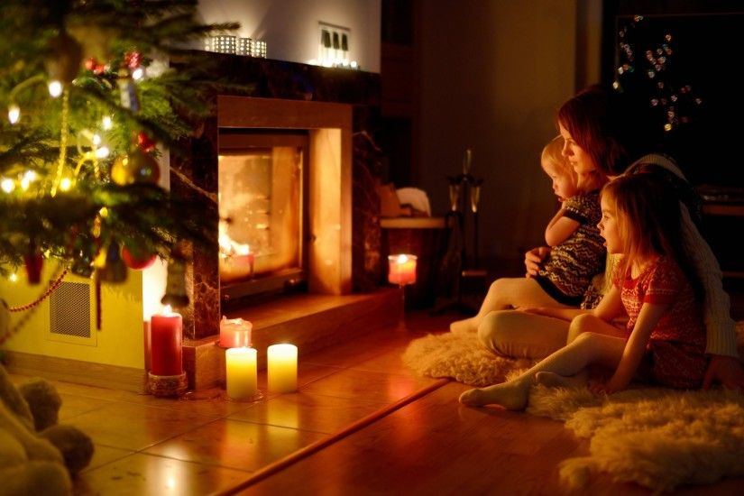 children a woman fireplace christmas family comfort new year