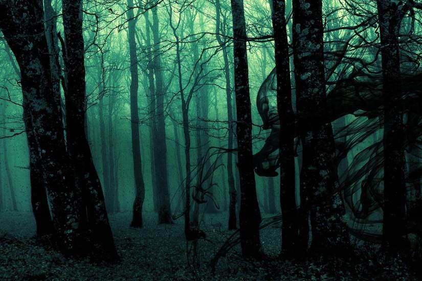dark ghost gothic wood trees fantasy evil horror wallpaper background