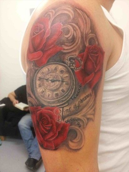 Red Rose With Black Background Tattoo