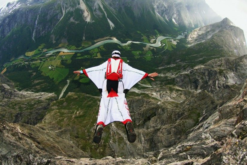 wingsuit pilot base jumping helmet helmet mountain valley river norway  trailers parachute extreme sports