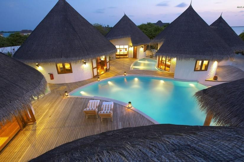 Free Hd Other Tropical Vacation Bungalows Pool Chairs Architecture Superb  Wallpapers Download