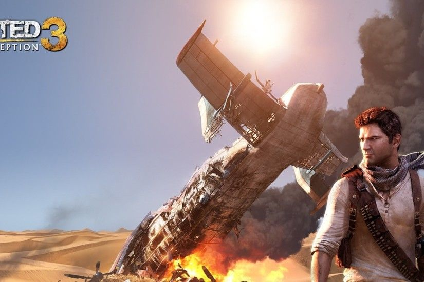 Preview wallpaper uncharted 3 drakes deception, smoke, airplane, sky,  desert 2560x1080