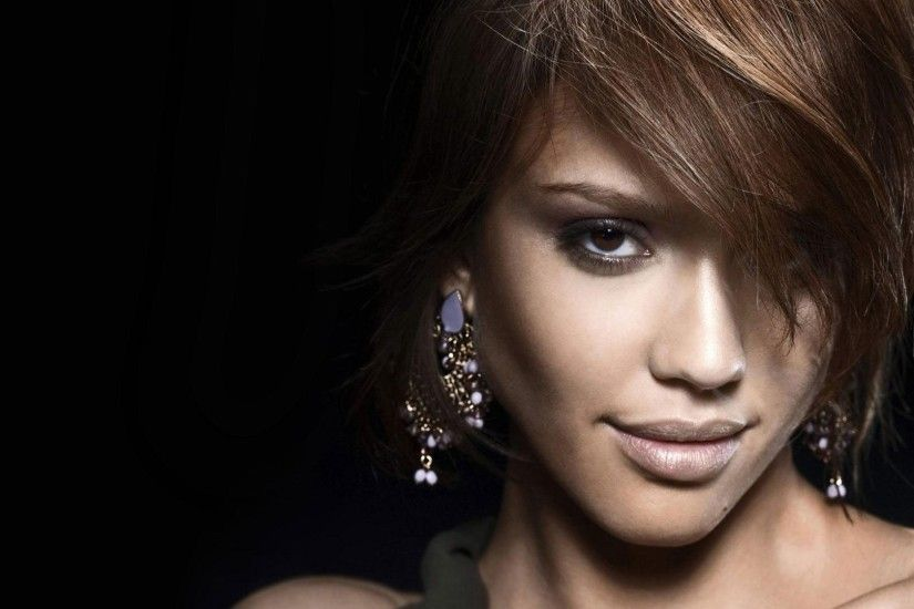 Preview wallpaper jessica alba, brunette, face, make-up 1920x1080