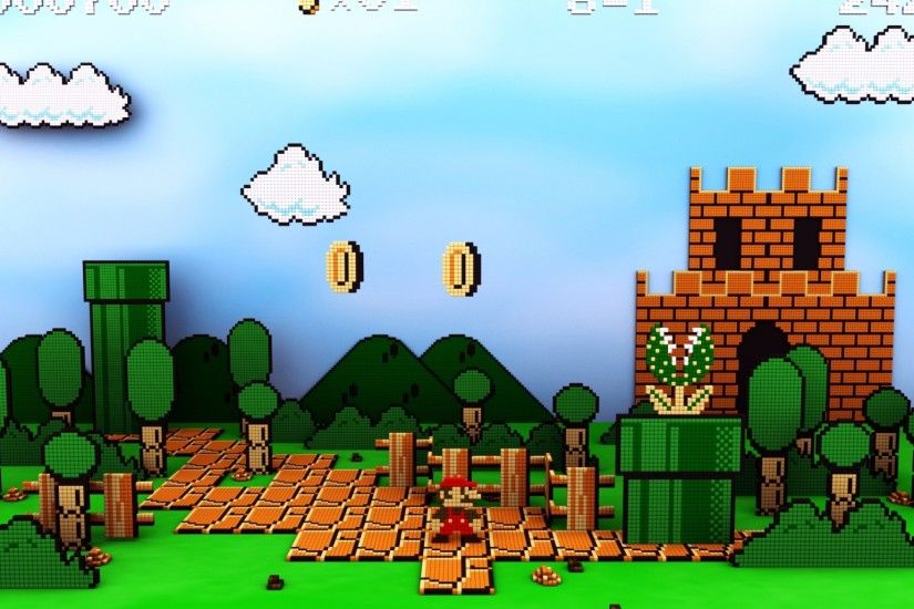 Preview wallpaper mario, sky, clouds, castle, coins 2048x1152