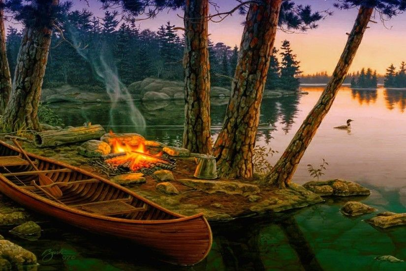 Campfire at the lakeside wallpaper