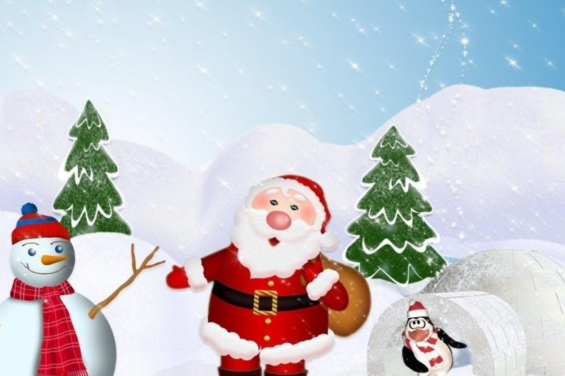 2048x2048 Wallpaper tree, santa claus, snowman, penguin, snow, winter, new