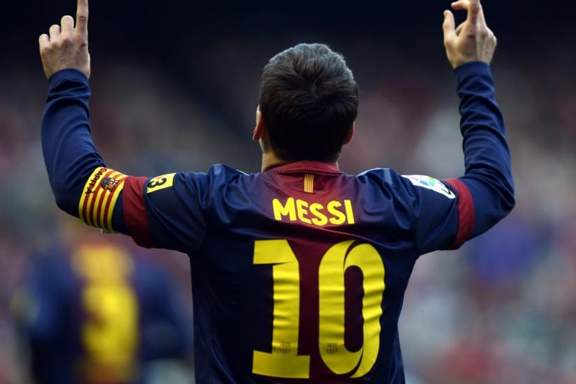 Preview wallpaper lionel messi, player, back, shirt 1920x1080