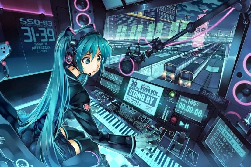 Anime Techno Wallpaper Vocaloid_hatsune_miku_anime_dj .