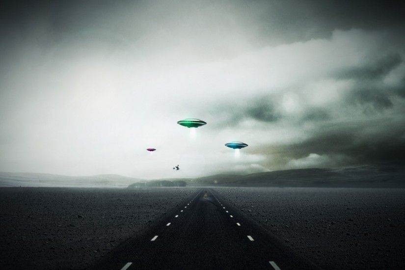 ... sci fi invasion ufo spaceship spacecraft roads landscapes sky clouds  alien wallpaper ...