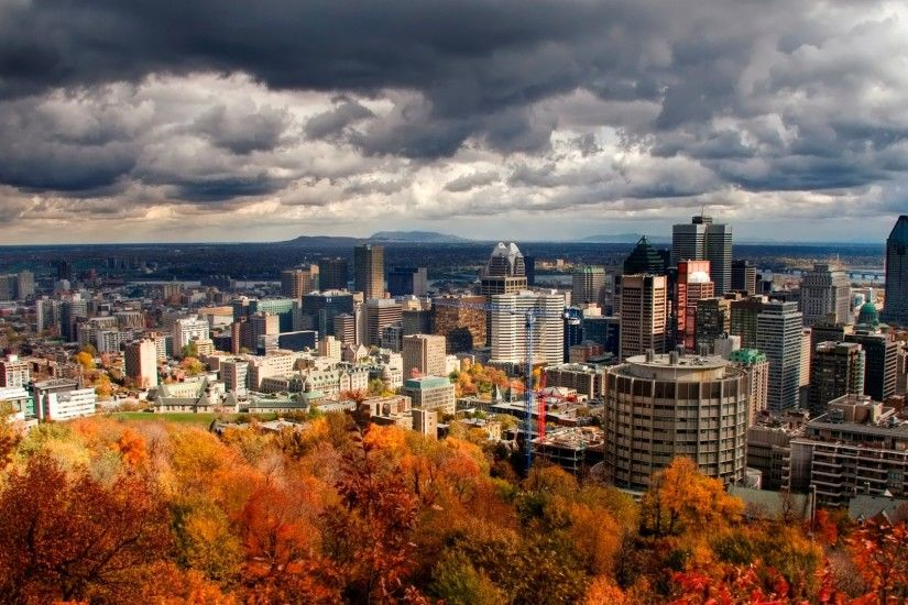 Preview wallpaper city , panorama, sky, autumn, building, view from