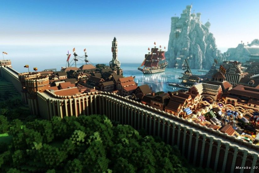 Check out these five breathtaking City of Lannisport Minecraft wallpapers  made by Maruku2012. These include a really cool outer wall with two ships  and ...