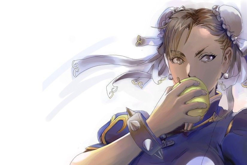 2560x1440 Wallpaper street fighter, chun-li, girl, anime, apple