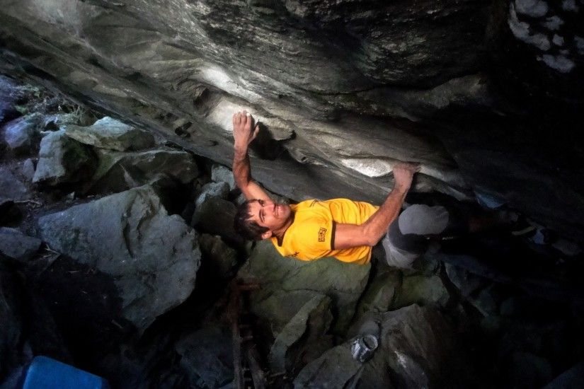 The Czech climber Martin Stranik has climbed Practice of the Wild (V15) in  Magic Wood, Switzerland.