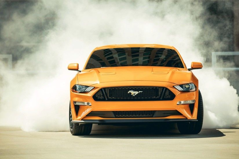 Ford Mustang Gt 2018 Orange Muscle Cars Front View Wallpaper - Image #3361 -