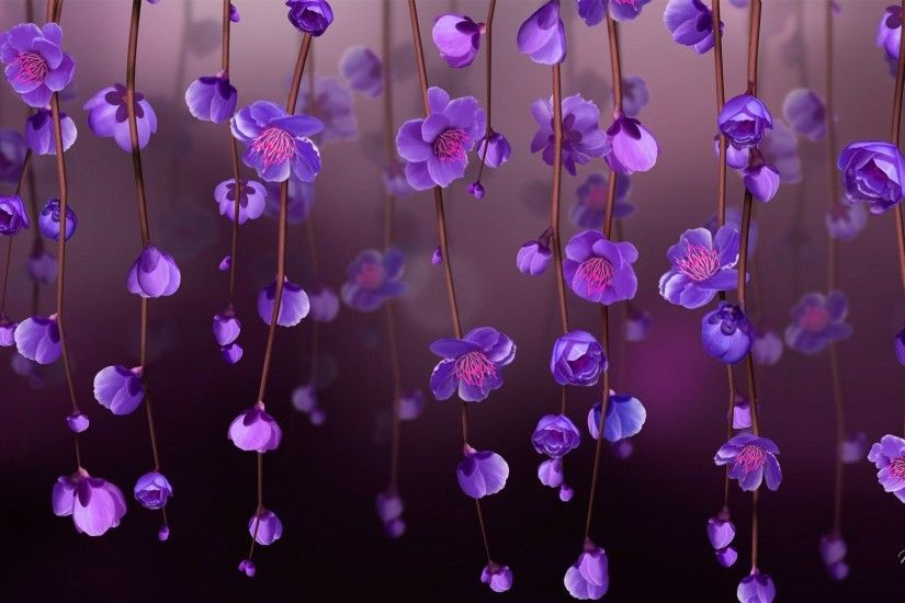 AB27660 Vines of Purple and Pink Mixed Flower Wallpaper .