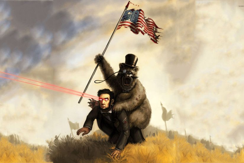 Bear riding Abraham Lincoln with Laser Eyes wallpaper 1920x1200 jpg