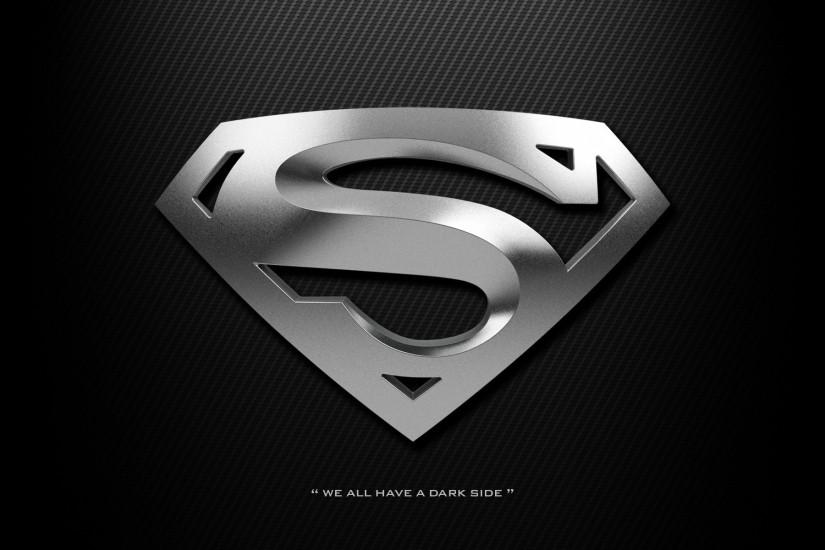 Superman logo wallpaper HD black dark silver chrome carbon