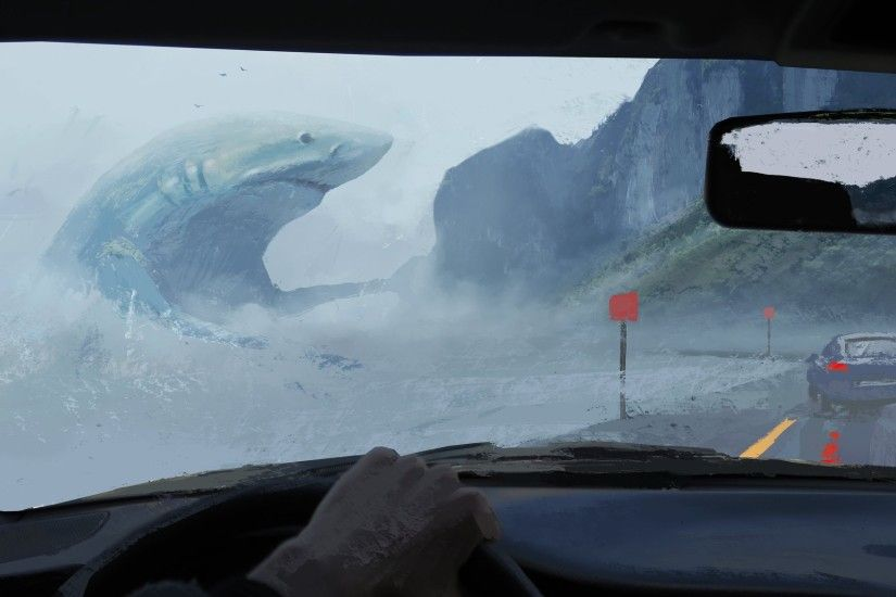 General 1920x1135 artwork painting shark animals car road sea car interior  megalodon fantasy art digital art