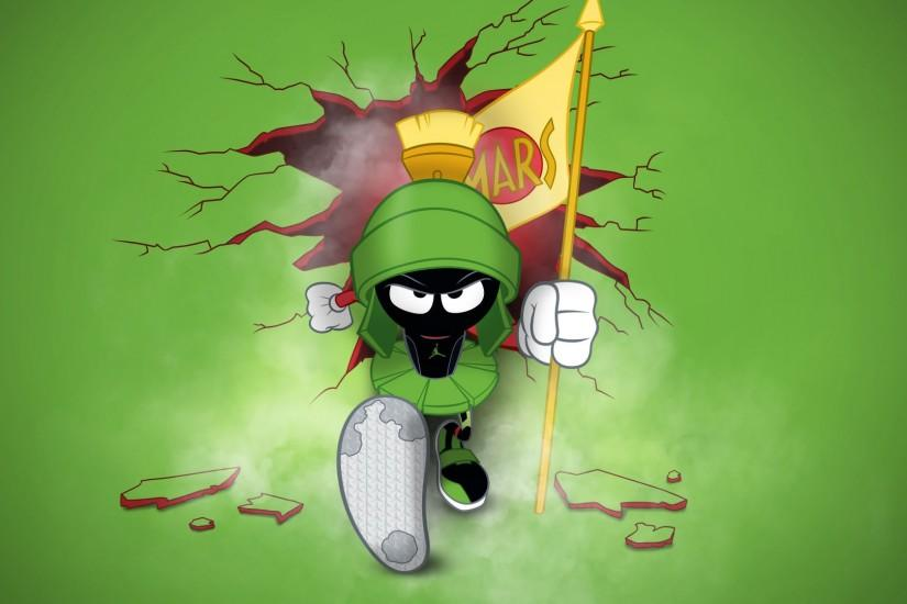 Marvin the Martian is angry and has busted through a wall desktop wallpaper  - Jordan.