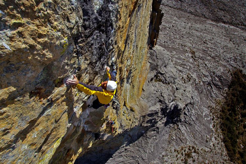 ... Yuji Hirayama on his 5.14d route at 13,000 feet on Mt Kinabalu, Borneo.