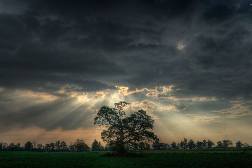 Rain of sunshine through dark heavy clouds wallpaper