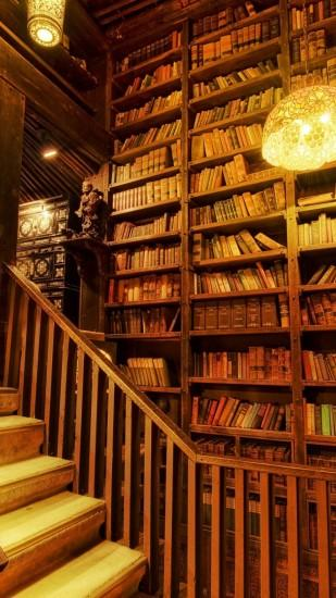1080x1920 Wallpaper library, staircase, room, light, wooden