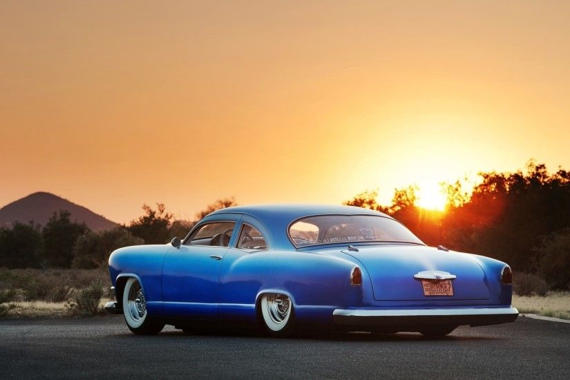 Kaiser Lowrider, Blue, Sunset, Back View, Cars