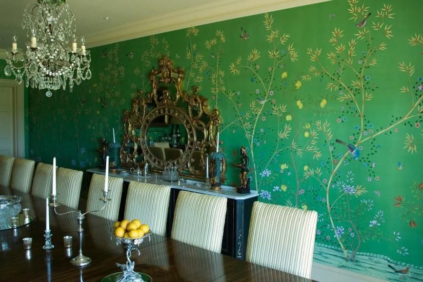 ... Traditional wallpaper / chinoiserie / handmade / hand-painted KELLY  Fromental