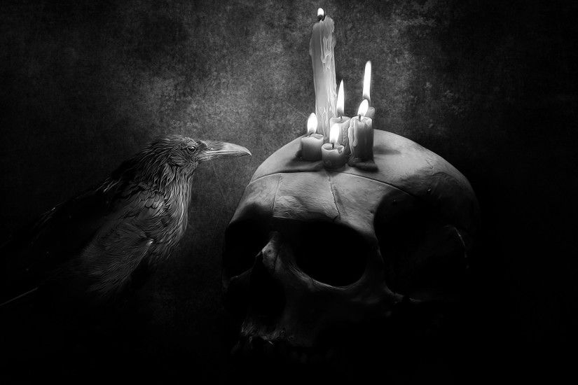 digital Art, Drawing, Monochrome, Skull, Candles, Raven, Fire, Animals  Wallpapers HD / Desktop and Mobile Backgrounds