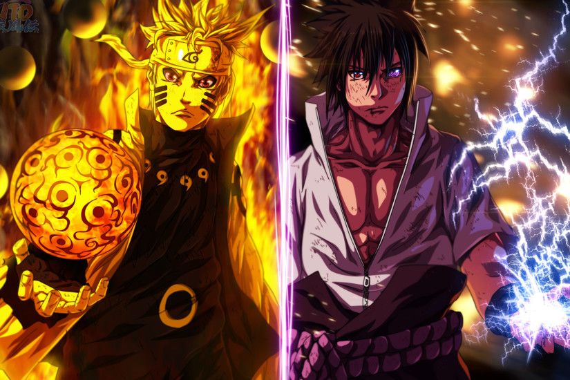 uzumaki naruto 9 tailed beast mode rasengan and uchiha sasuke anime
