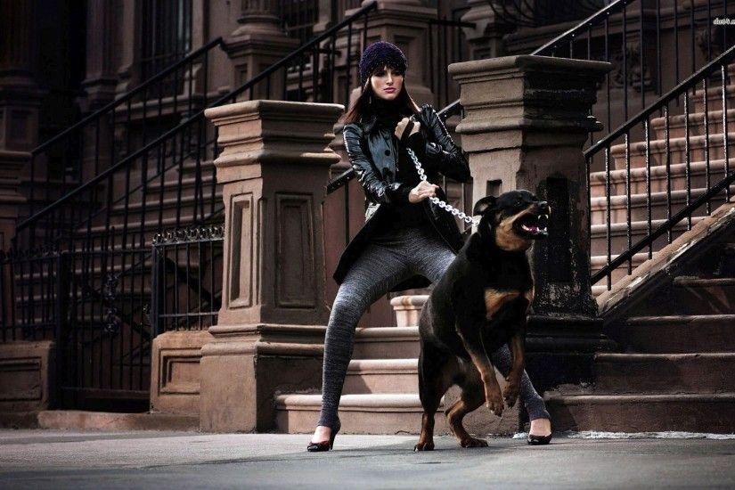 Woman And Her Rottweiler