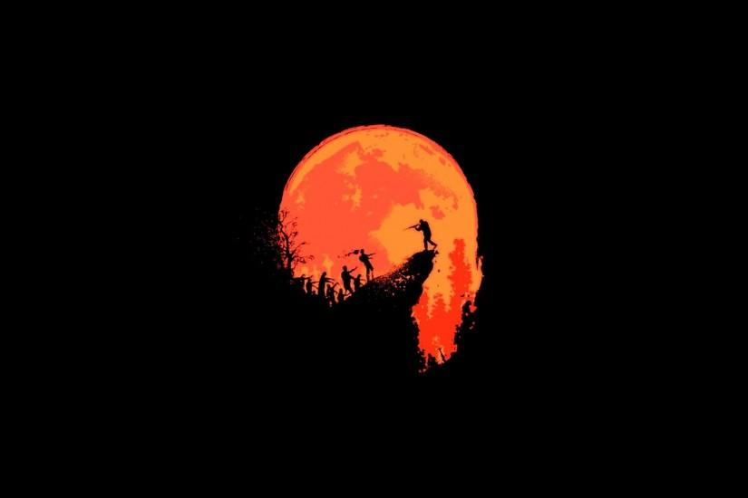 Black Background Last Stand Minimalistic Moon Orange Outbreak Red  Silhouettes Wallpaper