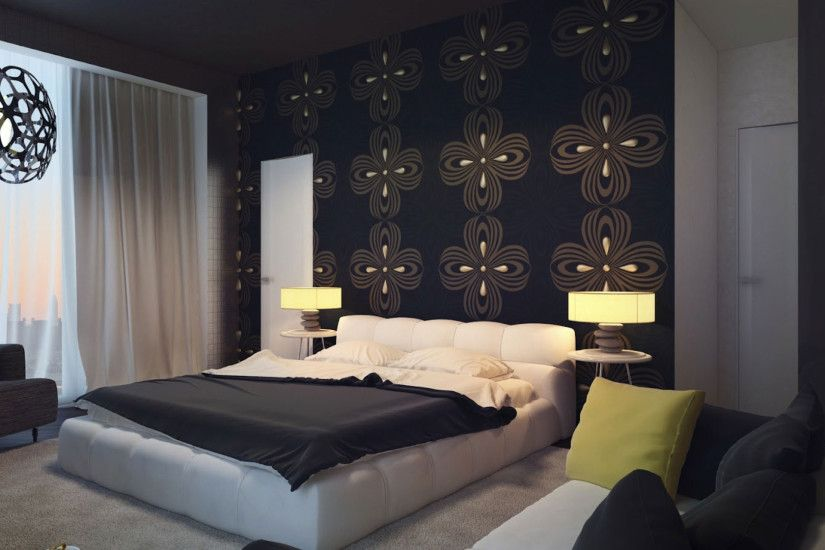 Heavenly Dark Blue Swirl Wallpaper With White Upholstery Platform Bed And  Bedroom Couch Ideas Also Cool Drum Shade Nightstands Lamps In Luxury Dark  Bedroom ...