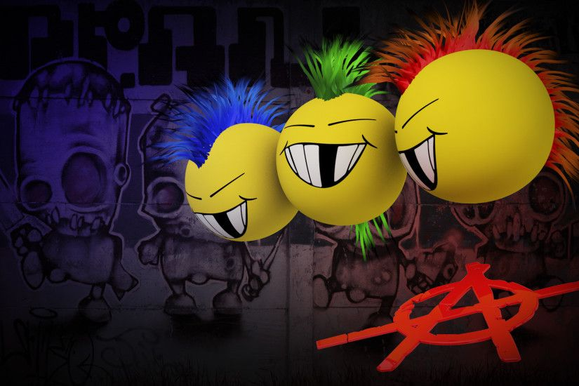 Anarchy Mohawk Dark Graffiti Punk Mohawk Cartoon Smiley Face Humor Wallpaper  At Dark Wallpapers