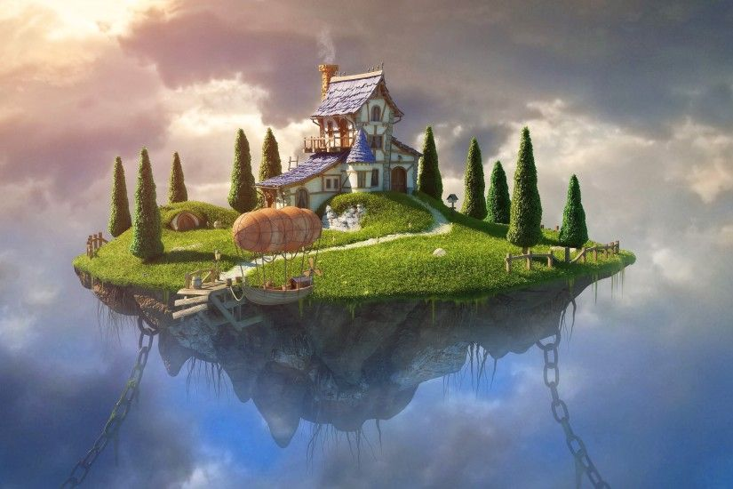 fantasy Art, Digital Art, House, Trees, Chains, Zeppelin, Rock, Clouds, Floating  Island Wallpapers HD / Desktop and Mobile Backgrounds