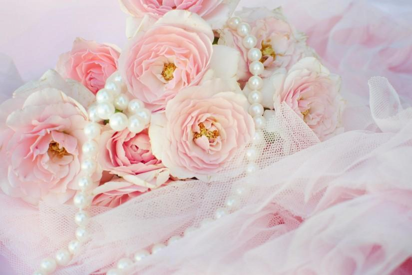 Pink Roses and Pearl Backgrounds | Pink roses and pearls lace flowers  nature HD Wallpaper