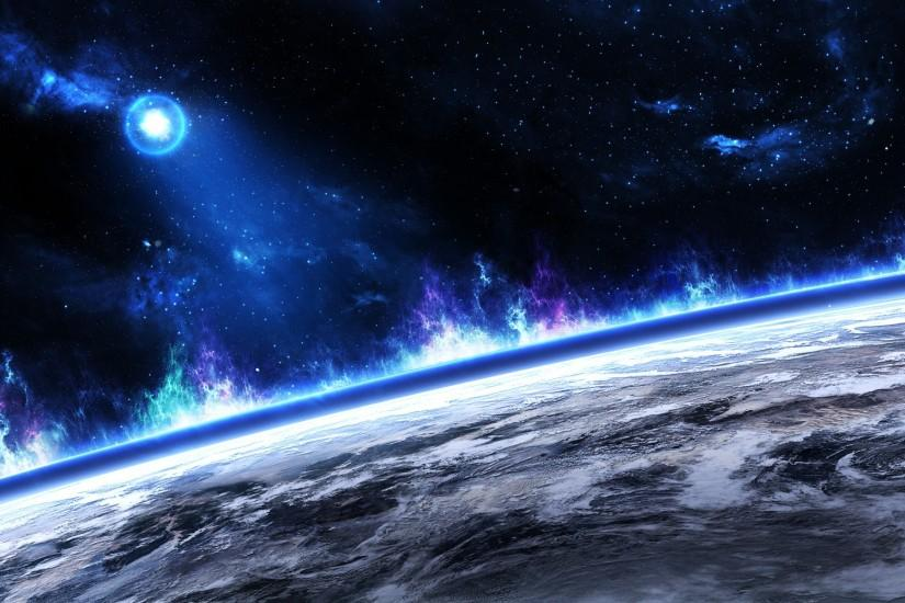 Outer space multicolor stars planets cosmic dust wallpaper