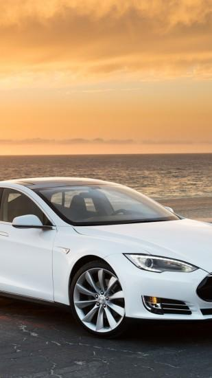 Preview wallpaper tesla, model s, tesla model s, sea 1080x1920