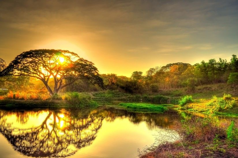 Preview wallpaper sunset, pond, trees, landscape 3840x2160
